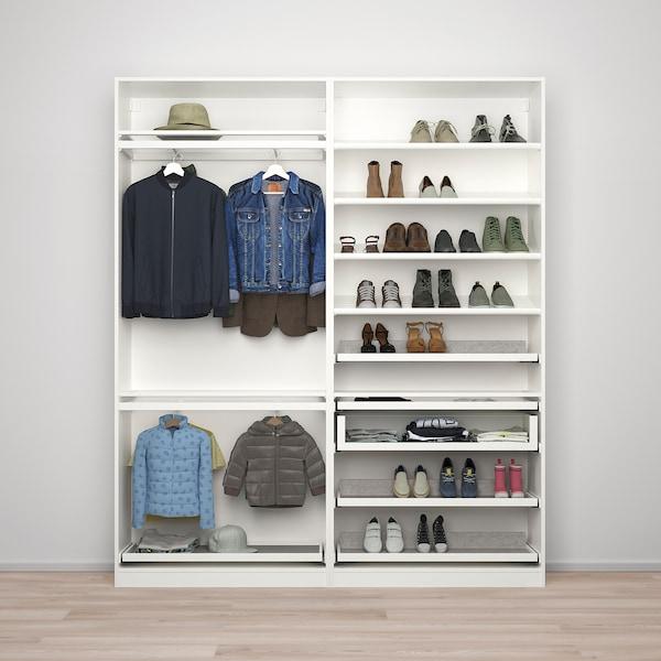 "PAX / MEHAMN Agencement armoire-penderie, blanc/effet chêne blanchi, 78 3/4x17 3/8x93 1/8 """