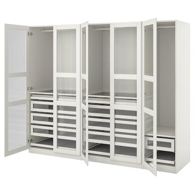"PAX / TYSSEDAL Agencement armoire-penderie, blanc/blanc verre, 98 3/8x23 5/8x79 1/4 """