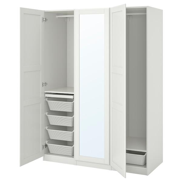 """PAX / TYSSEDAL Agencement armoire-penderie, blanc/verre miroir, 59x23 5/8x79 1/4 """""""