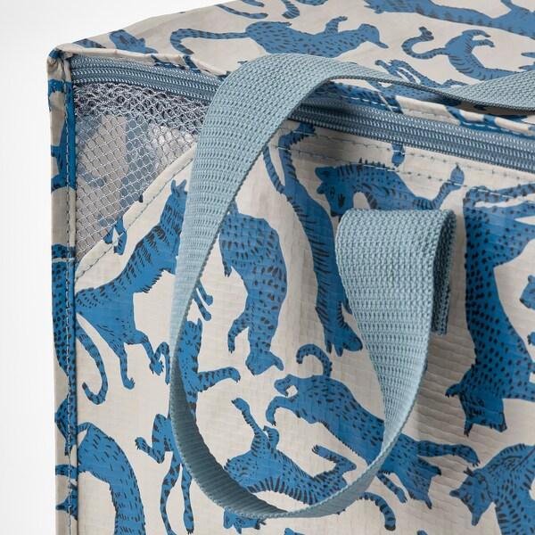 PLUGGHÄST Sac-rangement, à motifs chat/bleu beige
