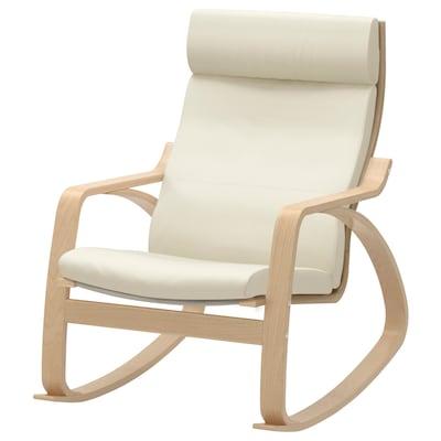POÄNG Chaise berçante, bouleau plaqué/Glose coquille d'oeuf
