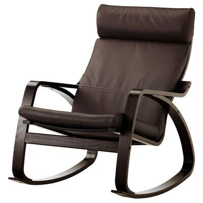 POÄNG Chaise berçante, brun-noir/Glose brun foncé