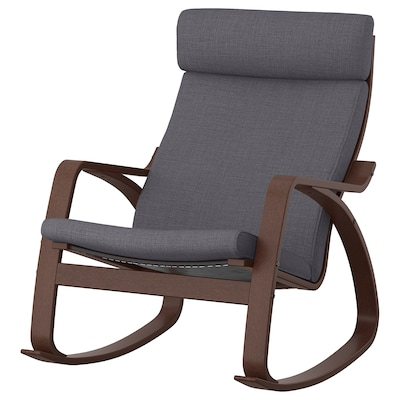 POÄNG Chaise berçante, brun/Skiftebo gris foncé