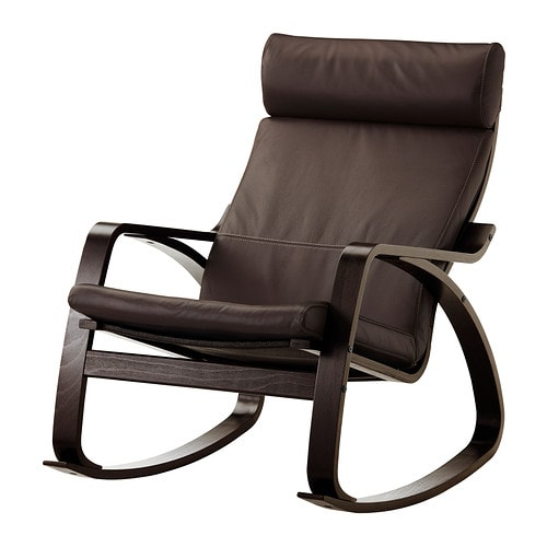 Po ng chaise ber ante glose brun fonc ikea for Chaise salon cuir