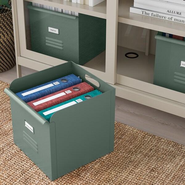 "REJSA Boîte, gris-vert/métal, 12 ½x13 ¾x12 ½ """