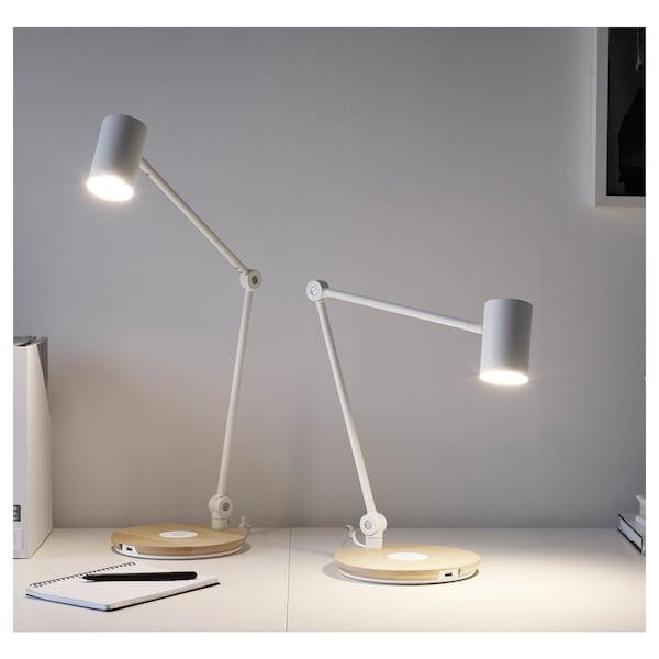 RIGGAD Lampe de bureau DEL/st charg s fil, blanc