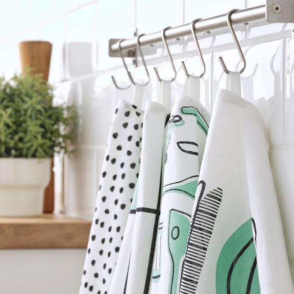 """RINNIG Linge à vaisselle, blanc/vert/à motifs, 18x24 """""""