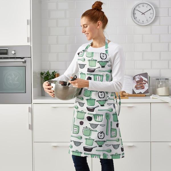 RINNIG Tablier, blanc/vert/à motifs