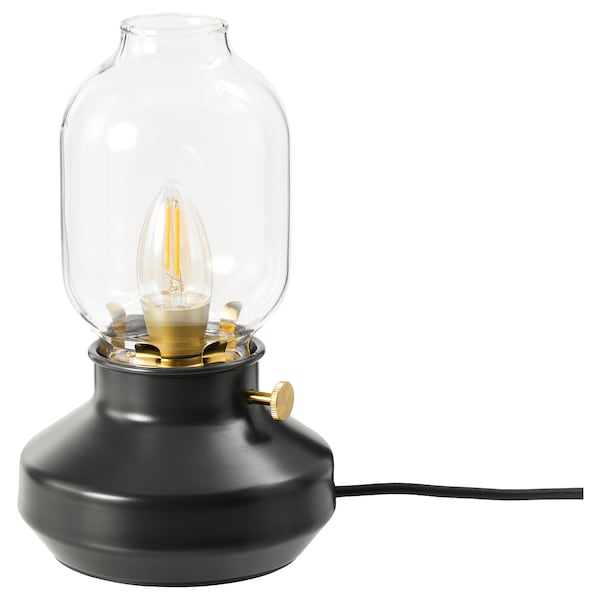 ROLLSBO Ampoule à DEL E12 200 lumen, intensité lumineuse réglable/flamme verre clair brun, 2200 K