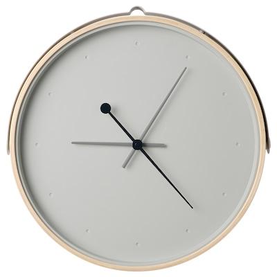 "ROTBLÖTA Horloge murale, frêne plaqué/gris clair, 16 ½ """