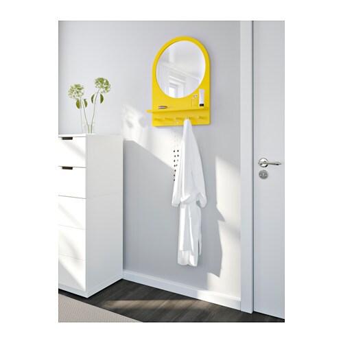 saltr d miroir avec tablette et crochets jaune ikea. Black Bedroom Furniture Sets. Home Design Ideas