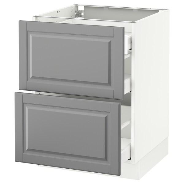 "SEKTION Arm inf 2 faces/3 tiroirs, blanc Maximera/Bodbyn gris, 24x24x30 """
