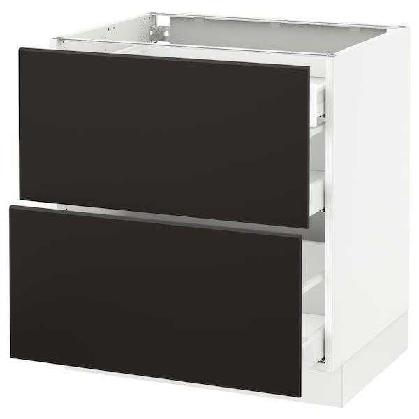 "SEKTION Arm inf 2 faces/3 tiroirs, blanc Maximera/Kungsbacka anthracite, 30x24x30 """
