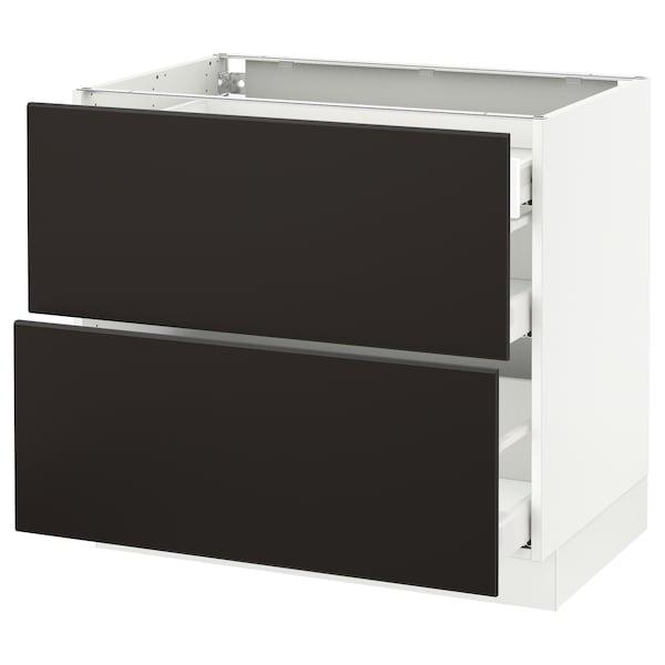 "SEKTION Arm inf 2 faces/3 tiroirs, blanc Maximera/Kungsbacka anthracite, 36x24x30 """