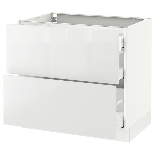 "SEKTION Arm inf 2 faces/3 tiroirs, blanc Maximera/Ringhult blanc, 36x24x30 """