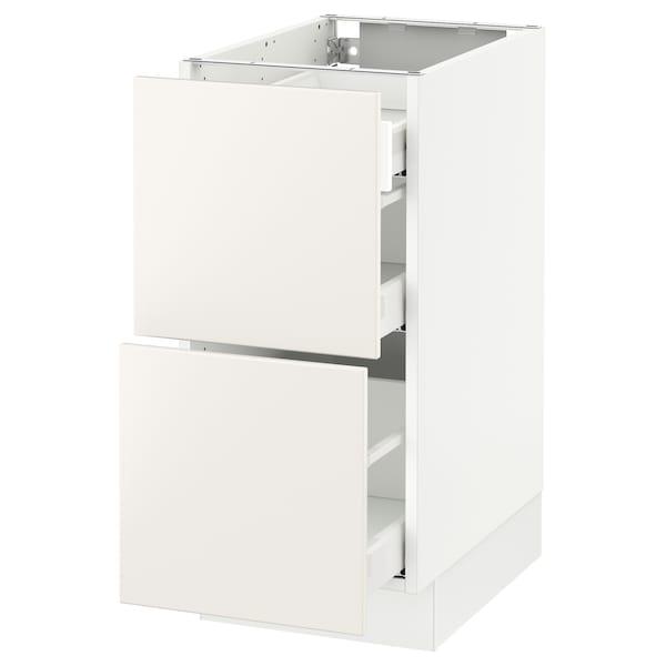 "SEKTION Arm inf 2 faces/3 tiroirs, blanc Maximera/Veddinge blanc, 15x24x30 """