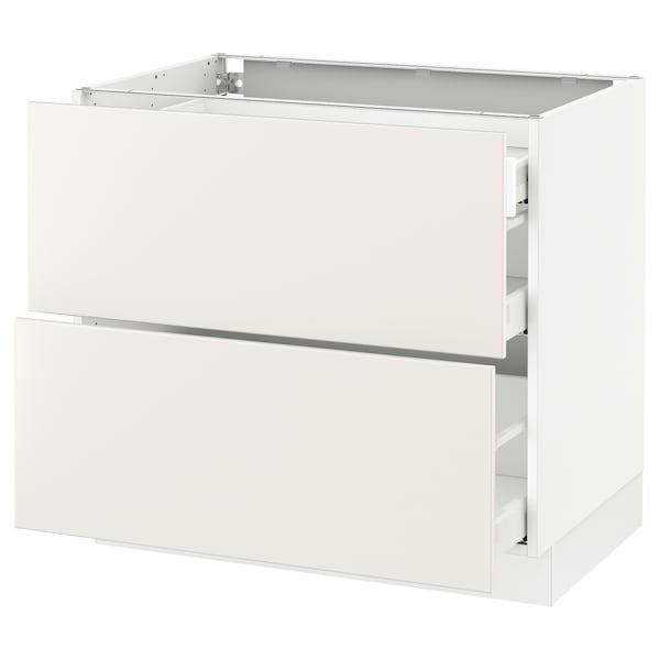 "SEKTION Arm inf 2 faces/3 tiroirs, blanc Maximera/Veddinge blanc, 36x24x30 """