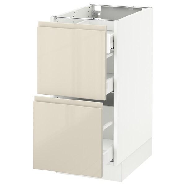 "SEKTION Arm inf 2 faces/3 tiroirs, blanc Maximera/Voxtorp beige clair ultrabrillant, 15x24x30 """