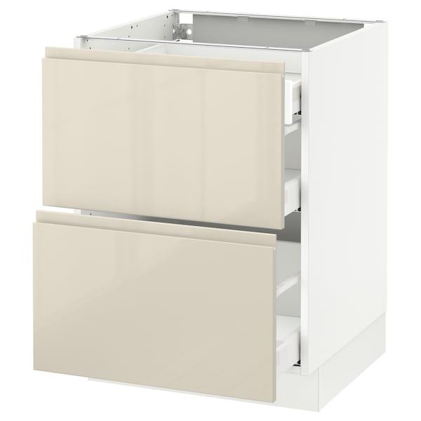 "SEKTION Arm inf 2 faces/3 tiroirs, blanc Maximera/Voxtorp beige clair ultrabrillant, 24x24x30 """