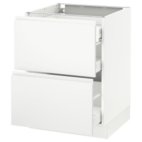 "SEKTION Arm inf 2 faces/3 tiroirs, blanc Maximera/Voxtorp blanc mat, 24x24x30 """