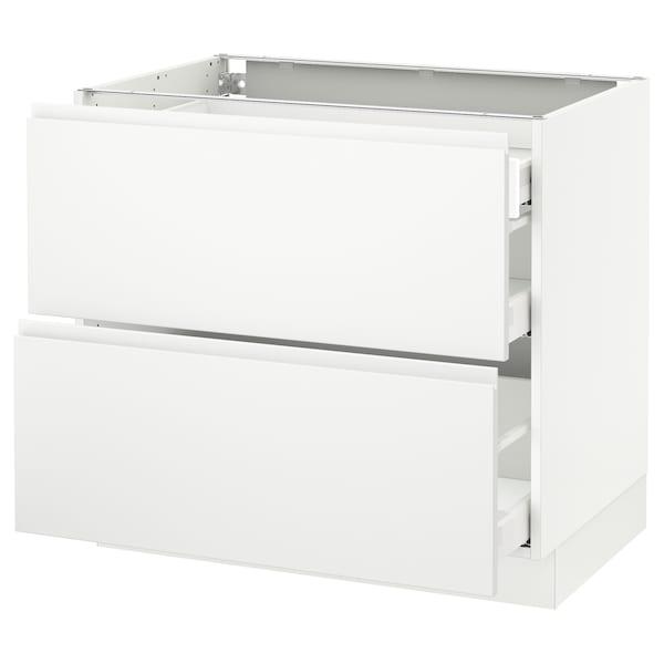 "SEKTION Arm inf 2 faces/3 tiroirs, blanc Maximera/Voxtorp blanc mat, 36x24x30 """