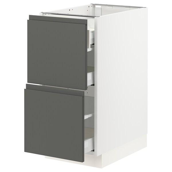"""SEKTION Arm inf 2 faces/3 tiroirs, blanc Maximera/Voxtorp gris foncé, 15x24x30 """""""