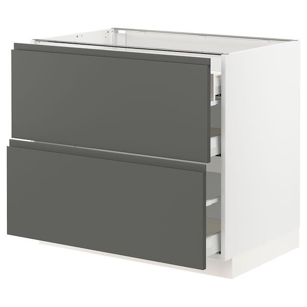 """SEKTION Arm inf 2 faces/3 tiroirs, blanc Maximera/Voxtorp gris foncé, 36x24x30 """""""