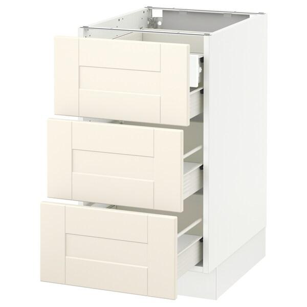 "SEKTION Arm inf 3 faces/4 tiroirs, blanc Förvara/Grimslöv blanc cassé, 18x24x30 """