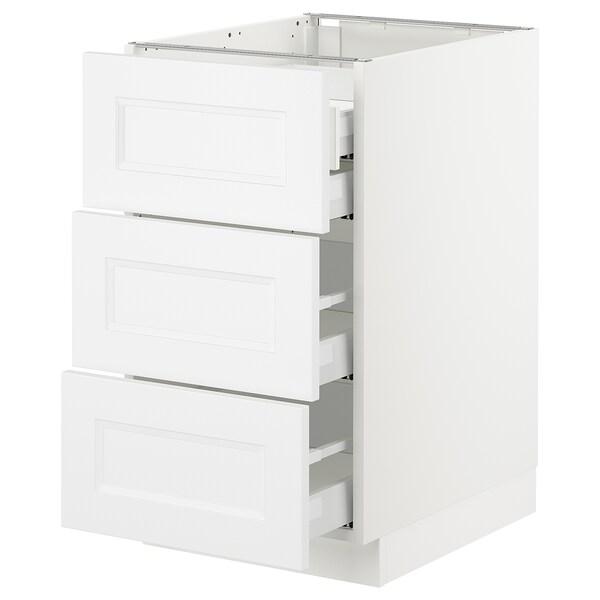 "SEKTION Arm inf 3 faces/4 tiroirs, blanc Maximera/Axstad blanc mat, 18x24x30 """