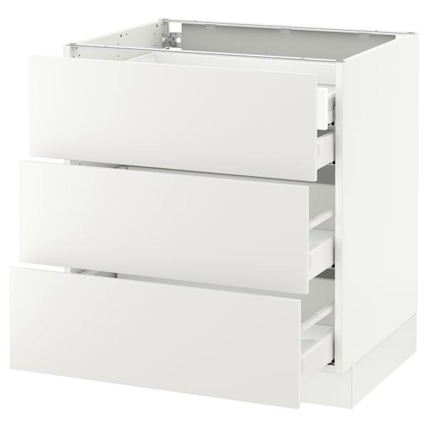 "SEKTION Arm inf 3 faces/4 tiroirs, blanc Maximera/Häggeby blanc, 30x24x30 """