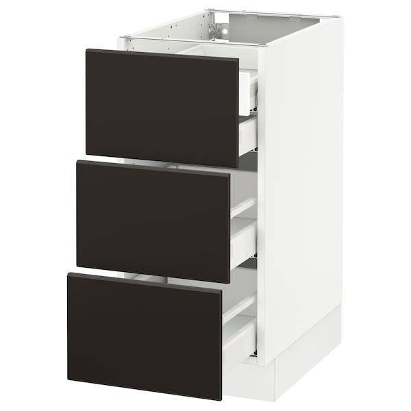 "SEKTION Arm inf 3 faces/4 tiroirs, blanc Maximera/Kungsbacka anthracite, 15x24x30 """