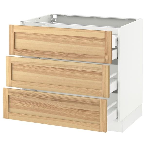 "SEKTION Arm inf 3 faces/4 tiroirs, blanc Maximera/Torhamn frêne, 36x24x30 """