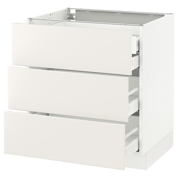 "SEKTION Arm inf 3 faces/4 tiroirs, blanc Maximera/Veddinge blanc, 30x24x30 """