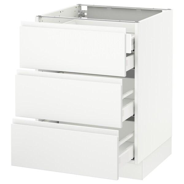 "SEKTION Arm inf 3 faces/4 tiroirs, blanc Maximera/Voxtorp blanc mat, 24x24x30 """