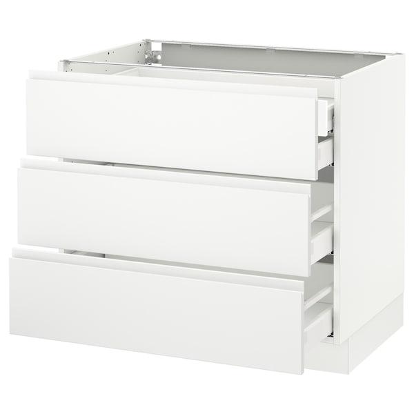 "SEKTION Arm inf 3 faces/4 tiroirs, blanc Maximera/Voxtorp blanc mat, 36x24x30 """
