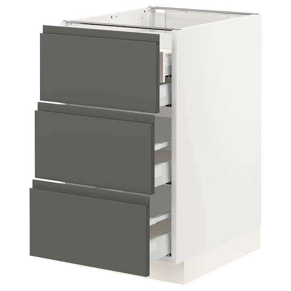 """SEKTION Arm inf 3 faces/4 tiroirs, blanc Maximera/Voxtorp gris foncé, 18x24x30 """""""