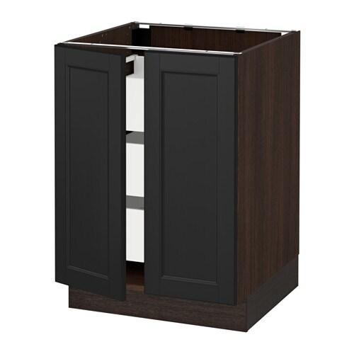 sektion arm inf 2 ptes 3 tir effet bois brun ma laxarby brun noir 24x24x30 ikea. Black Bedroom Furniture Sets. Home Design Ideas