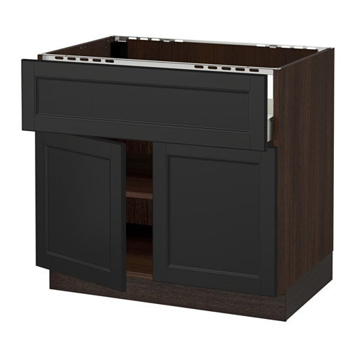 sektion arm inf table cuisson tir tabl 2pts effet bois brun f laxarby brun noir 36x24x30. Black Bedroom Furniture Sets. Home Design Ideas