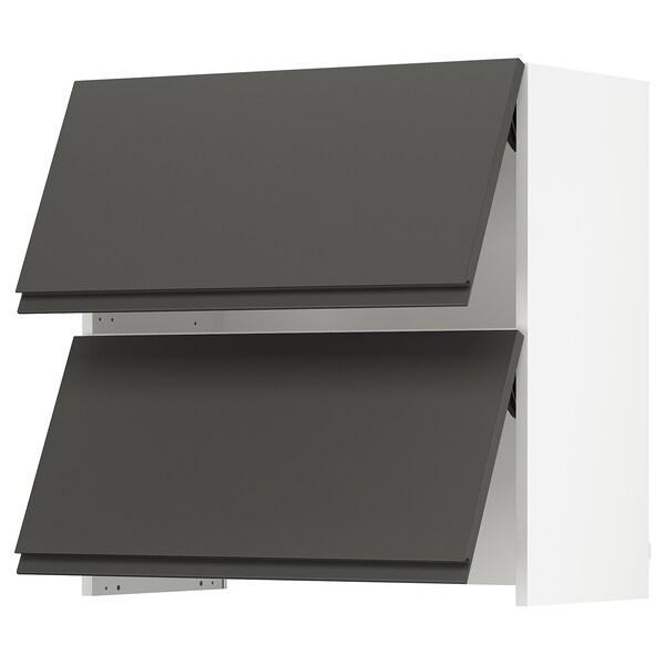 """SEKTION Arm mur av hotte intégrée ouv press, blanc/Voxtorp gris foncé, 30x15x30 """""""
