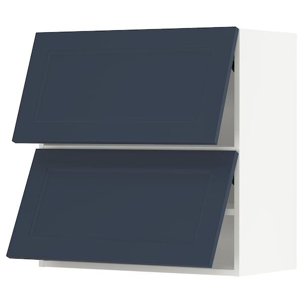 "SEKTION Arm mur horiz 2 ptes av ouv press, blanc Axstad/mat bleu, 30x15x30 """