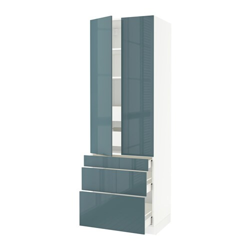 sektion arm 2 portes 3 faces 5 tiroirs blanc f kallarp ultrabrillant gris turquoise. Black Bedroom Furniture Sets. Home Design Ideas