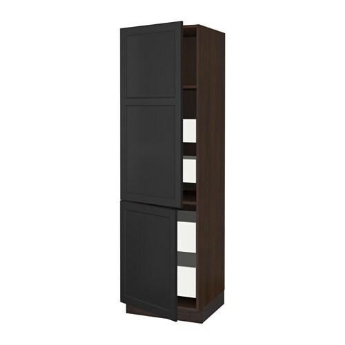 sektion arm 2 portes tablettes 4 tiroirs effet bois brun ma laxarby brun noir 24x24x80 ikea. Black Bedroom Furniture Sets. Home Design Ideas