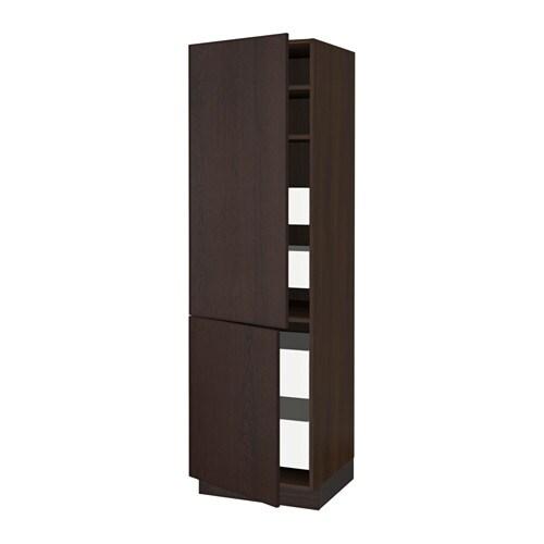 sektion arm 2 portes tablettes 4 tiroirs effet bois brun ma ekestad brun 24x24x80 ikea. Black Bedroom Furniture Sets. Home Design Ideas