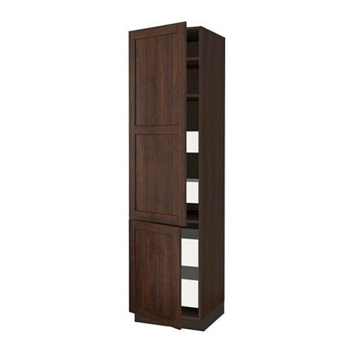 sektion arm 2 portes tablettes 4 tiroirs effet bois brun. Black Bedroom Furniture Sets. Home Design Ideas