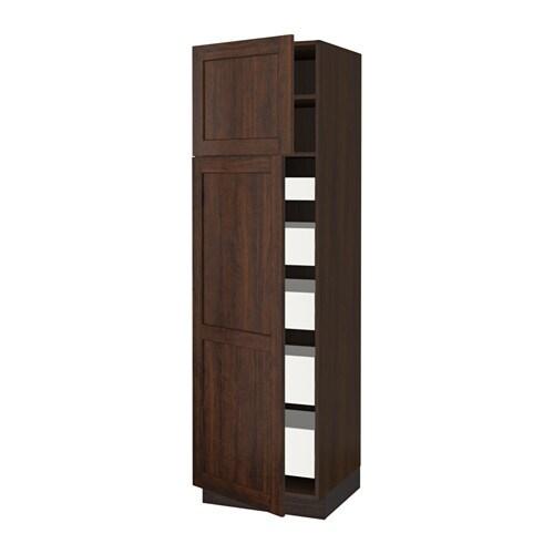 sektion arm 2 portes tablettes 5 tiroirs effet bois brun f edserum effet bois brun. Black Bedroom Furniture Sets. Home Design Ideas