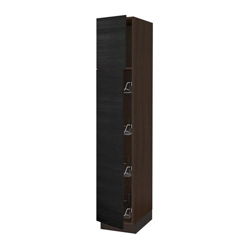 sektion armoire avec porte et corbeilles effet bois brun tingsryd effet bois noir 15x24x80. Black Bedroom Furniture Sets. Home Design Ideas