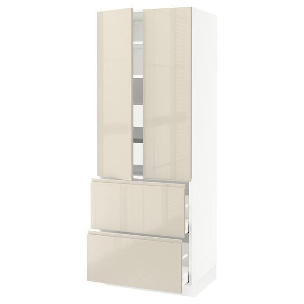"""SEKTION Armoire haute 2 portes/2 faces/4tir, blanc/Voxtorp beige clair ultrabrillant, 30x24x80 """""""