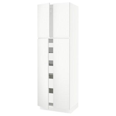 "SEKTION Armoire haute 4 portes/5 tiroirs, blanc/Voxtorp blanc mat, 30x24x90 """
