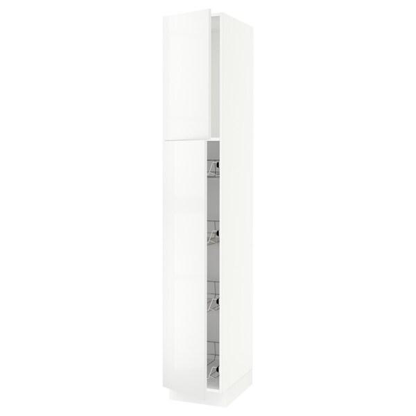 "SEKTION Armoire haute av porte +corbeilles, blanc/Ringhult blanc, 15x24x90 """