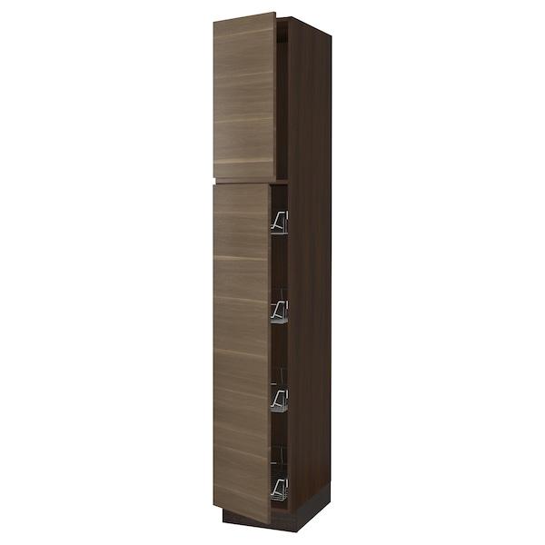 """SEKTION Armoire haute av porte +corbeilles, brun/Voxtorp effet noyer, 15x24x90 """""""